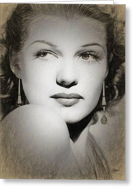Rita Hayworth Sketch Greeting Card by Quim Abella