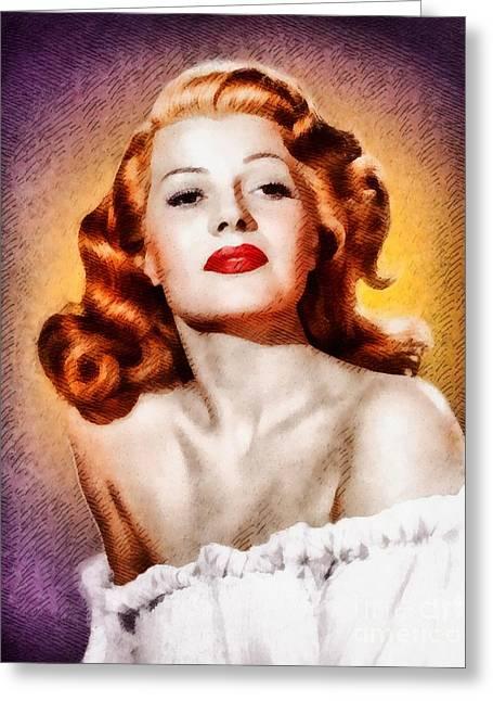 Rita Hayworth, Vintage Actress Greeting Card by John Springfield