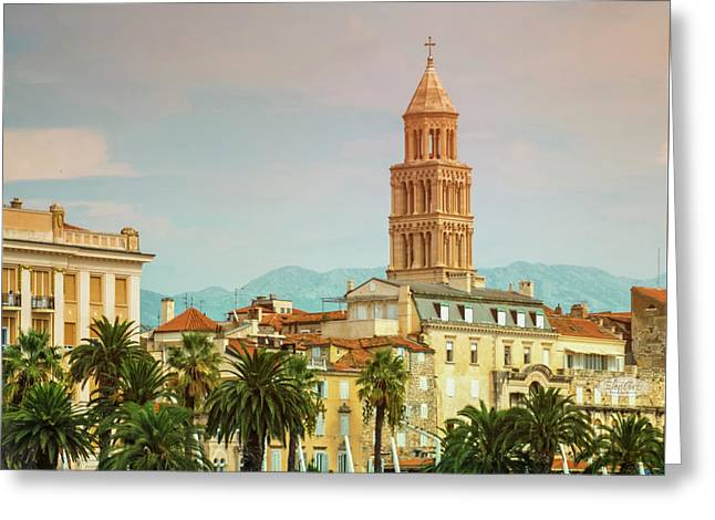 Riva Waterfront, Houses And Cathedral Of Saint Domnius, Dujam, D Greeting Card