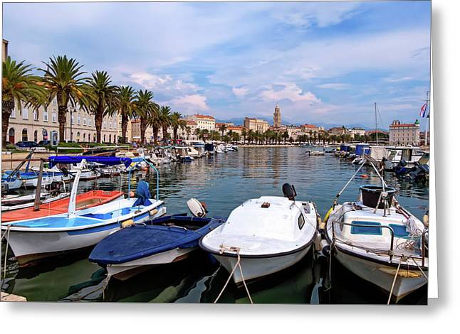 Riva Waterfront, Houses And Cathedral Of Saint Domnius, Dujam, Duje, Bell Tower Old Town, Split, Croatia Greeting Card by Elenarts - Elena Duvernay photo