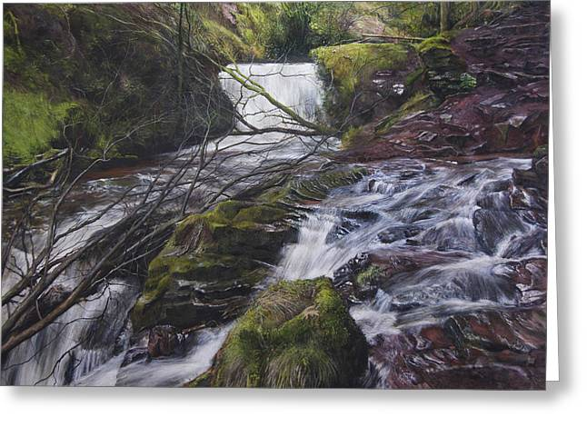 River At Talybont On Usk In The Brecon Beacons Greeting Card by Harry Robertson