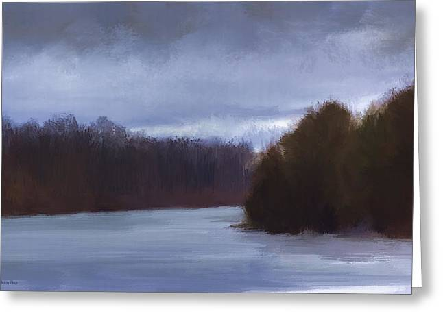 River Bend In Winter Greeting Card
