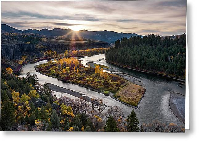 River Bend Sunrise Greeting Card by Leland D Howard