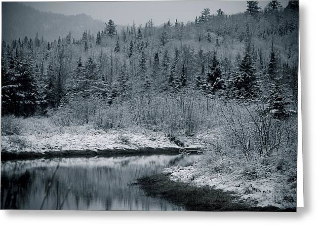 River Bend Winter Greeting Card by Todd Bissonette