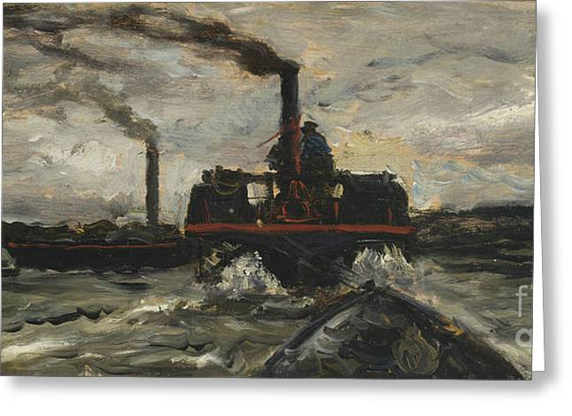 River Boat Greeting Card by Charles Francois Daubigny