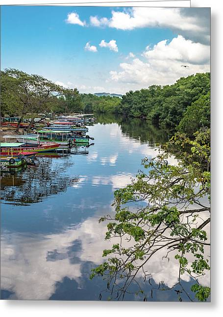 River Boats Docked In Negril, Jamaica Greeting Card