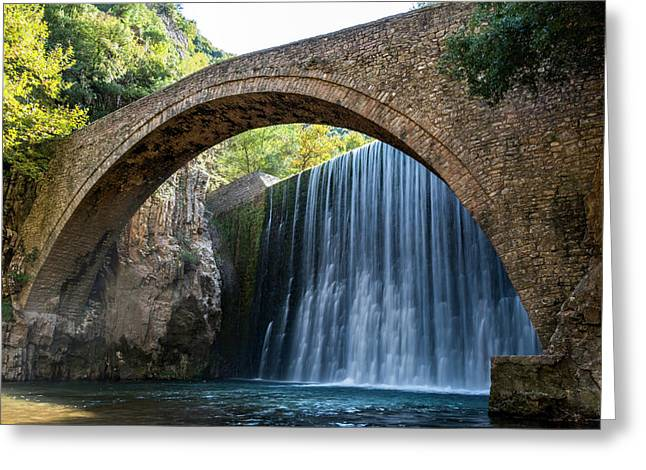 Greeting Card featuring the photograph River Bridge by Nikos Stavrakas