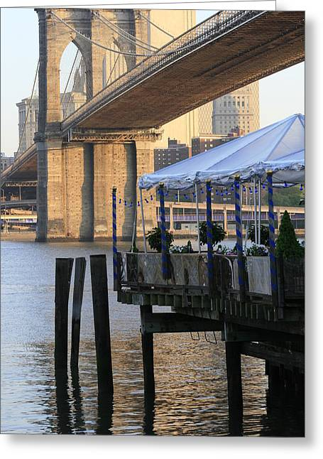 River Cafe With Brooklyn Bridge Greeting Card by Christopher Kirby