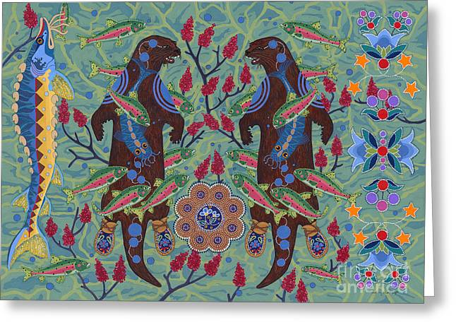Greeting Card featuring the painting River Spirit by Chholing Taha