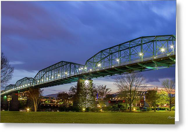 River City Bridges Walnut Street Pedestrian Bridge Chattanooga Tn Greeting Card by Reid Callaway