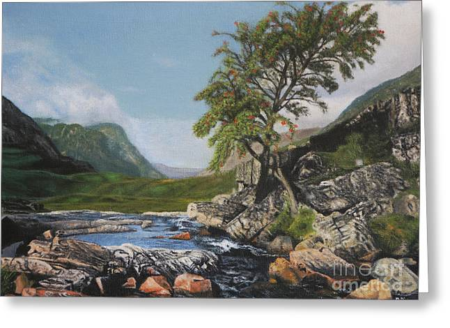 River Coe Scotland Oil On Canvas Greeting Card