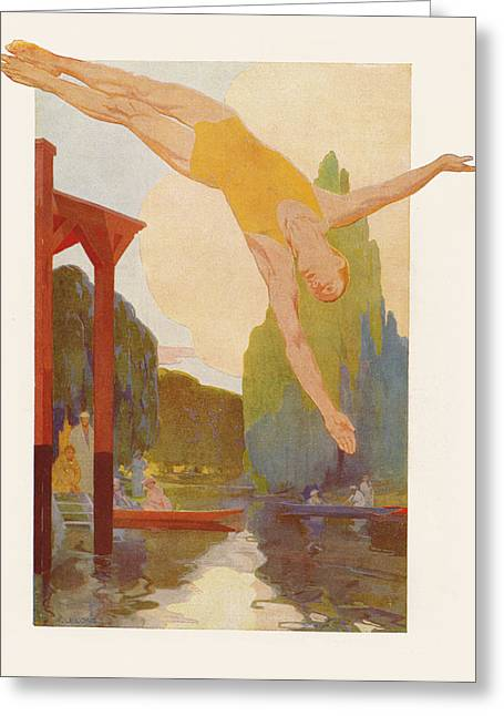 1920s Drawings Greeting Cards - River Diver Greeting Card by Rene Lelong