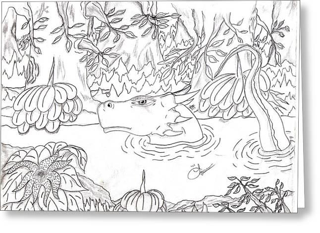 River Dragon Greeting Card by Lynnette Jones