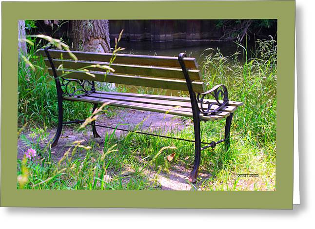 River Fishing Bench Greeting Card by Corey Ford