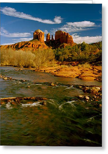 River Flowing Through Rocks, Red Rock Greeting Card by Panoramic Images