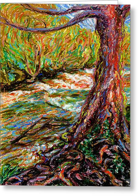 Tree Roots Pastels Greeting Cards - River Hafren in September Greeting Card by Alexandra Cook