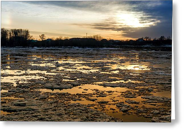 River Ice At Dusk In Colour Greeting Card by John Williams