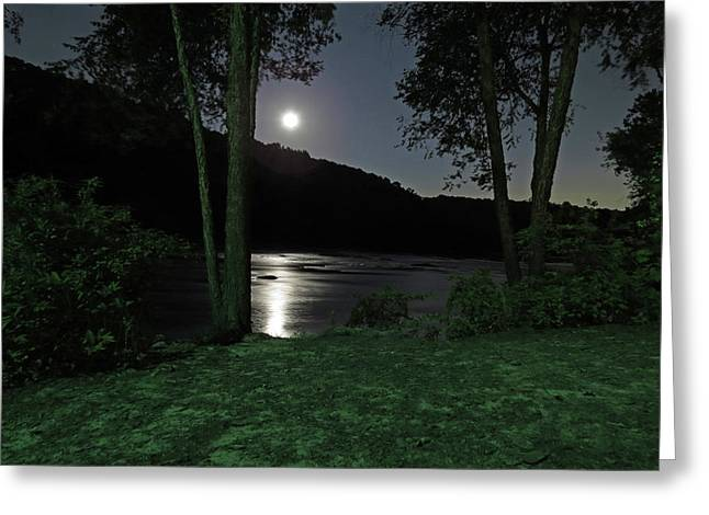 River In Moonlight Greeting Card