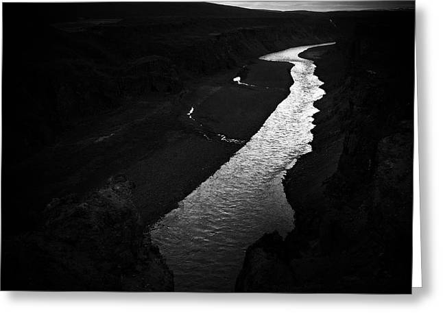 River In The Dark In Iceland Greeting Card
