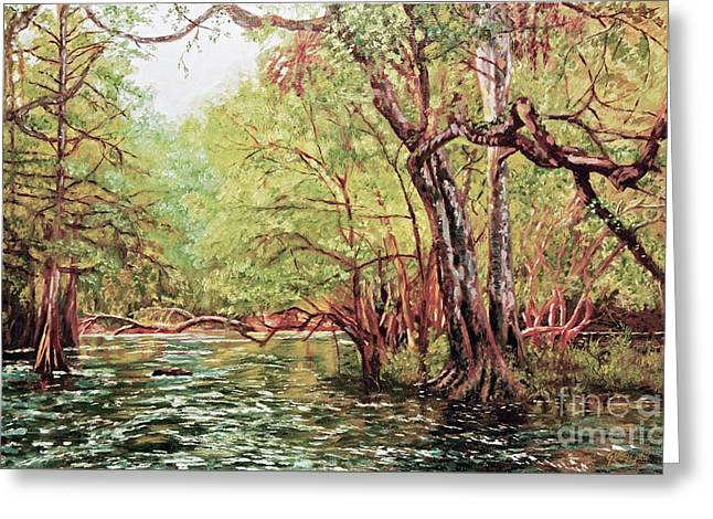 River In The Woods Greeting Card by George Voyajolu