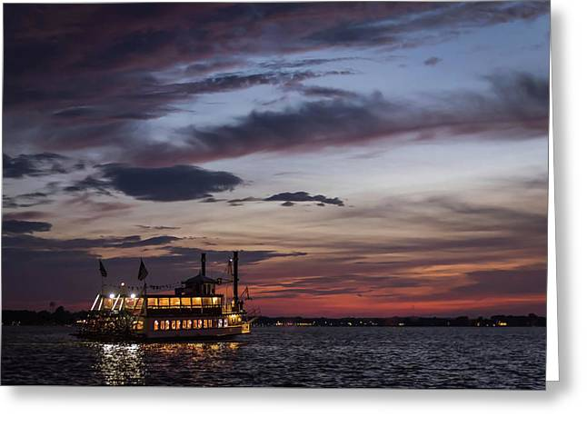 River Lady At Sunset Island Heights Nj Greeting Card by Terry DeLuco
