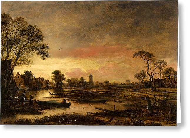 River. Clouds Greeting Cards - River landscape  Greeting Card by Aert van der Neer