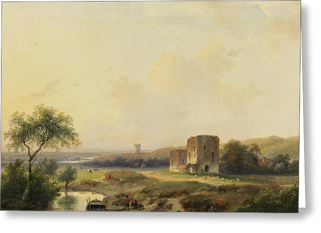 River Landscape Near Haarlem With Windmill And The Ruins Of Brederode Greeting Card