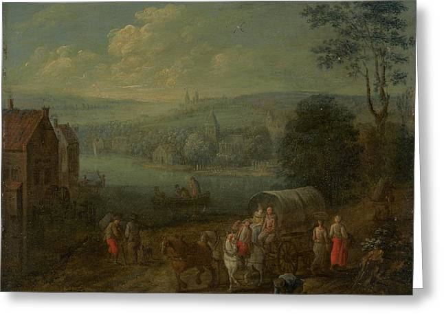 River Landscape With Villages And Travelers Greeting Card