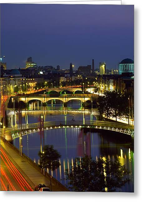 White River Scene Greeting Cards - River Liffey Bridges, Dublin, Ireland Greeting Card by The Irish Image Collection