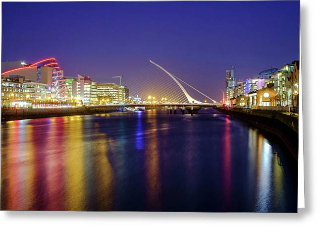 River Liffey In Dublin At Dusk Greeting Card