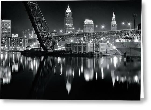 River Lights In Black And White Greeting Card by Frozen in Time Fine Art Photography