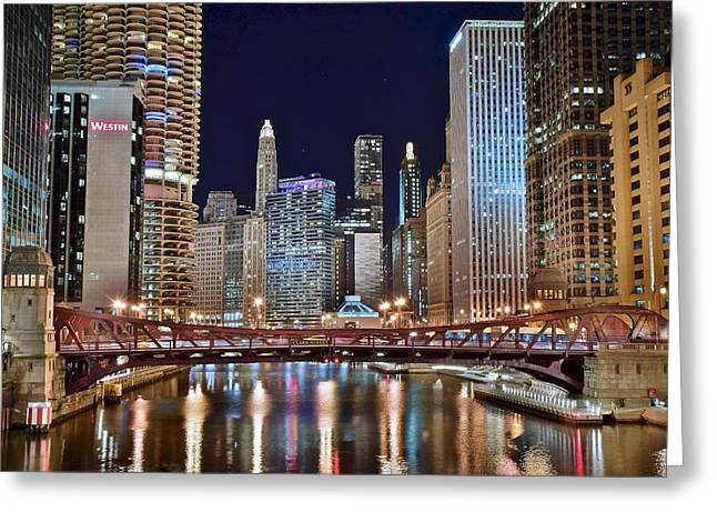 River Lights  In The Windy City Greeting Card