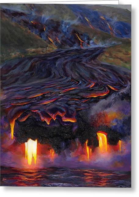 River Of Fire - Kilauea Volcano Hawaii Greeting Card by Karen Whitworth