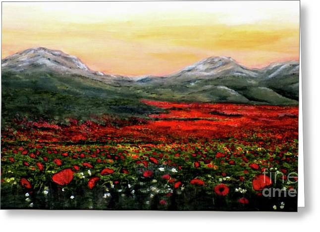 River Of Poppies Greeting Card by Judy Kirouac