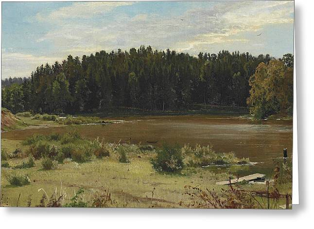River On The Edge Of A Wood Greeting Card by Ivan Shishkin
