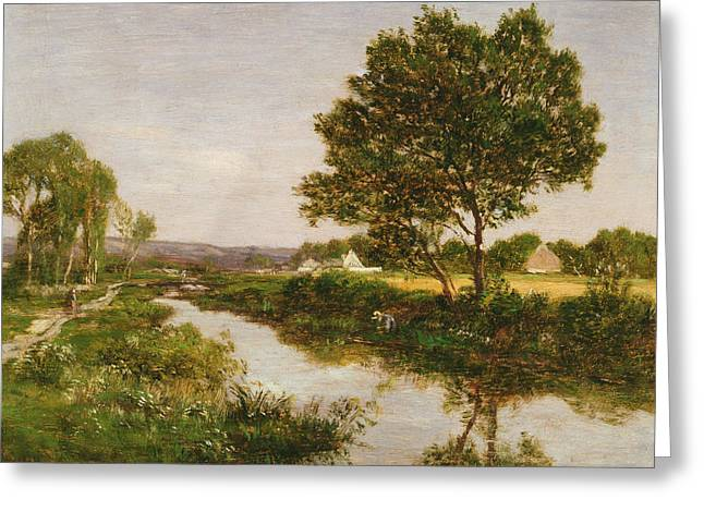 River On The Outskirts Of Quimper Greeting Card by Eugene Louis Boudin