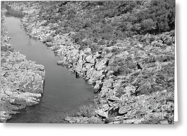 River On The Rocks. Bw Version Greeting Card