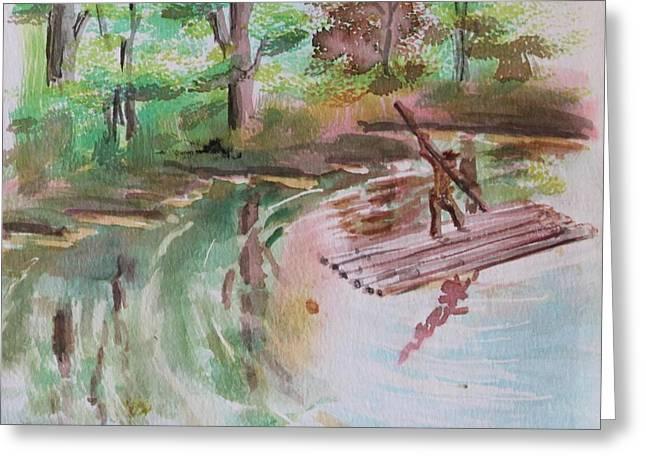River Rafting Greeting Card by Remegio Onia