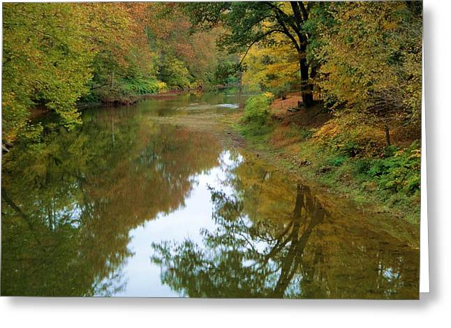 River Reflection Autumn Sunday Greeting Card by Terry  Wiley