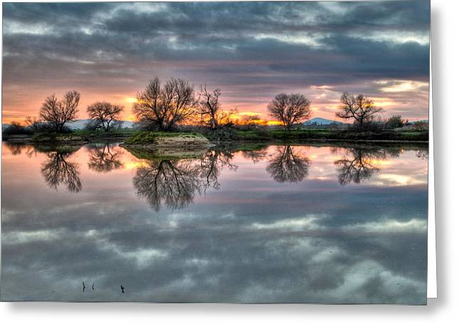 River Reflection Sunrise Greeting Card