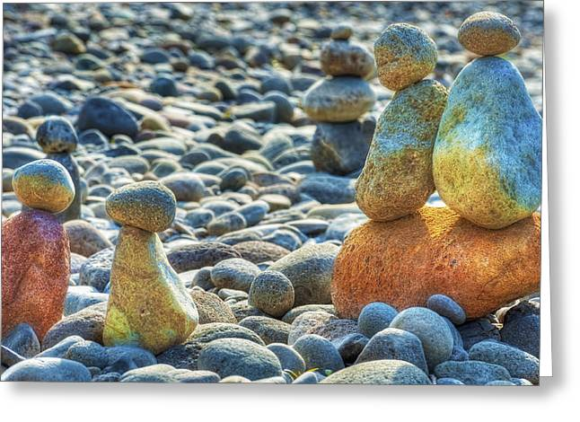 Stacked Rocks On A Rocky Beach Greeting Card