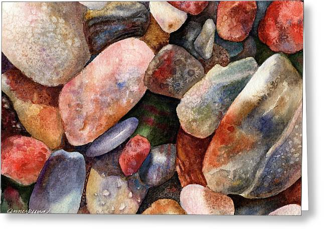 Greeting Card featuring the painting River Rocks by Anne Gifford