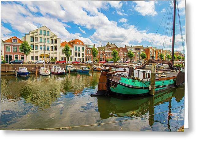 River Scene In Rotterdam Greeting Card