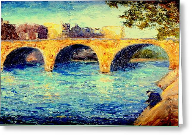 River Seine Bridge Greeting Card