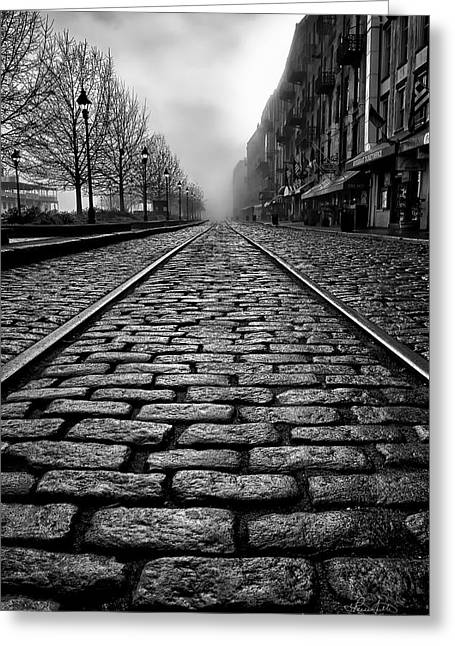 River Street Railway - Black And White Greeting Card by Renee Sullivan