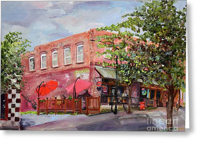 Greeting Card featuring the painting River Street Tavern-ellijay, Ga - Cheers by Jan Dappen