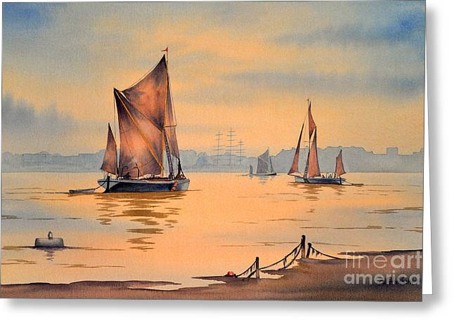 River Thames At Greenwich London Greeting Card by Bill Holkham