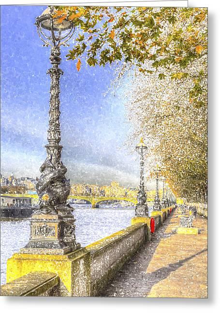 River Thames Path Snow Art Greeting Card