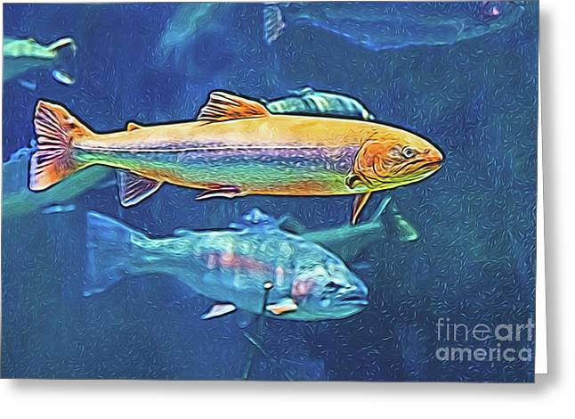 Greeting Card featuring the digital art River Trout by Ray Shiu