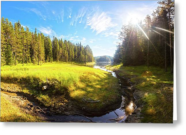 River Valley Greeting Card by Evgeni Dinev
